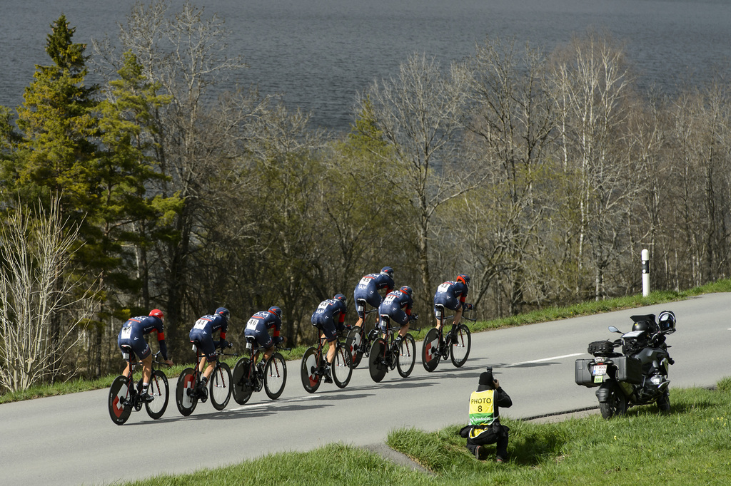 Team IAM Cycling, in action during the first stage, a 19,2 km team race against the clock, between La Vallee de Joux and Juraparc at the 69th Tour de Romandie UCI ProTour cycling race, in Vallorbe, Switzerland, Tuesday, April 28, 2015. (KEYSTONE/Jean-Christophe Bott)
